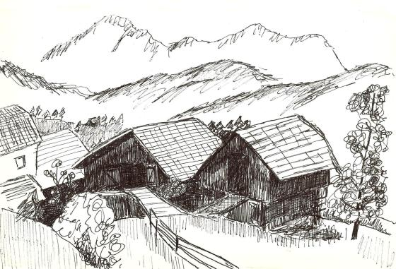 Mountain Scene Drawing