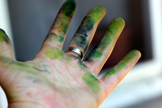 Hand Covered in Pastels