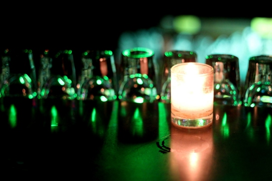 Candle and Shot Glasses