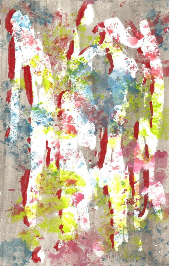 Abstract Watercolor with Leaves